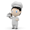 Bon appetit! Social 3D characters: happy smiling cook in uniform with tray and metal cloche lid cover. New constantly growing collection of expressive unique multiuse people images. Concept for cooking dish illustration. Isolated.